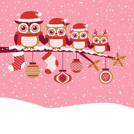 올빼미 가족 빨간 크리스마스 인사말