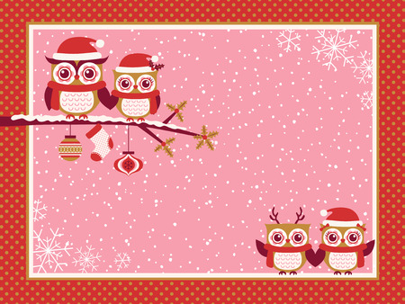 christmas cartoon: cartoon owls family red christmas greeting