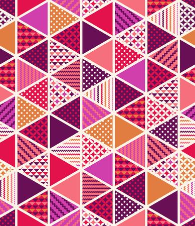 シームレスなカラフルな幾何学的な三角形のタイルのパッチワーク パターン