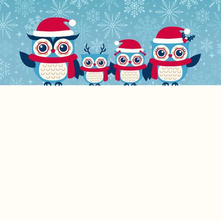 owl family: cute owls christmas seasonal illustration Illustration