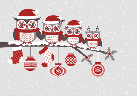 cute owls christmas seasonal illustration  イラスト・ベクター素材