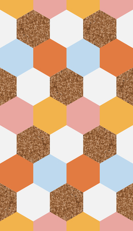 wallpaper wall: seamless hexagonal geometric textured pattern Illustration