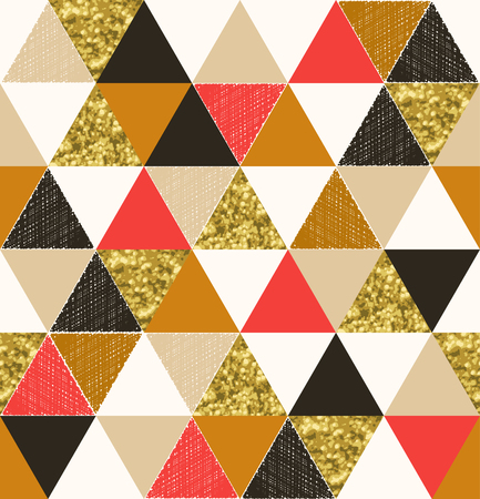 Seamless triangle tile pattern with glittery effect