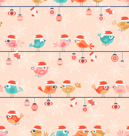 Christmas seamless pattern with cute birds