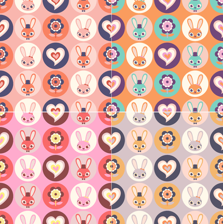 Cute childish seamless Funny rabbits in hearts and flowers.