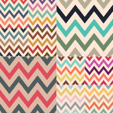 Different classic retro color combinations of zig zag textured stock vector pattern