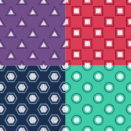Different combinations of creative modern geometric symbols seamless pattern. Textured vector pattern.