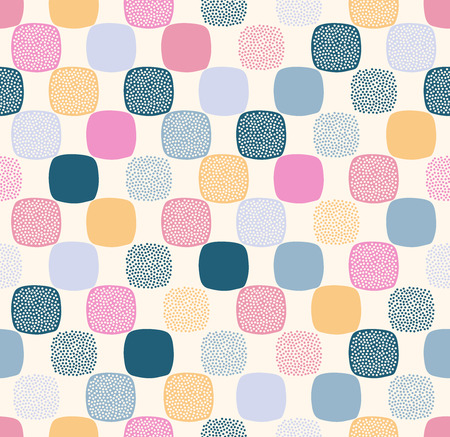Seamless creative stylish rounded square with dots textured pattern - Vector Ilustração