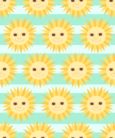 Cute cartoon character sun seamless pattern on striped background