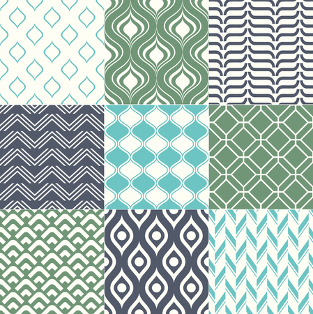 Set of colorful trendy retro geometric seamless patterns for interior design. Vector backgrounds collection Ilustração