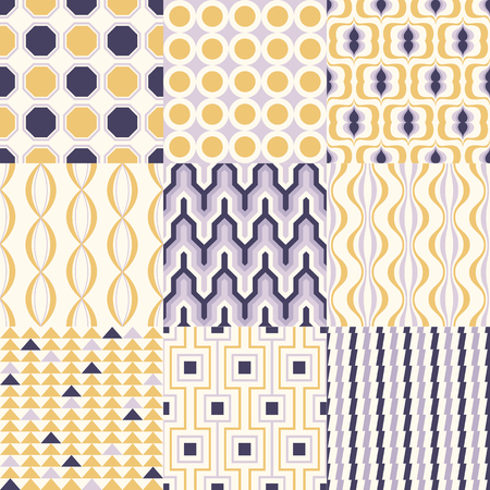 Set of colorful mid century geometric seamless patterns for interior design. Vector backgrounds collection