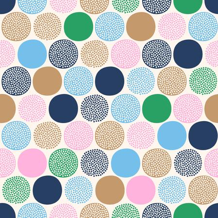Patrón de puntos coloridos abstractos infantiles sin fisuras sobre fondo blanco. Ilustración de vector