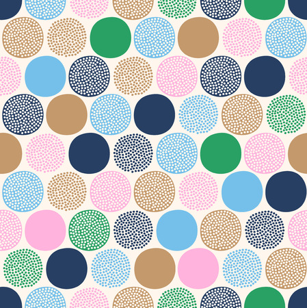 seamless childish abstract colorful dots pattern on white background.