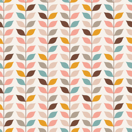 Seamless retro vines leaves pattern. Vertical multicolored plant wallpaper background