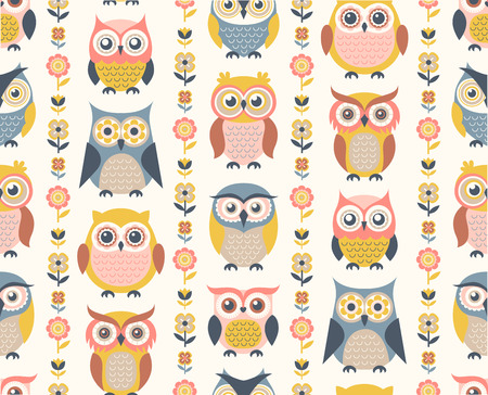 seamless cartoon owls with flowers pattern background. Mid century style illustration