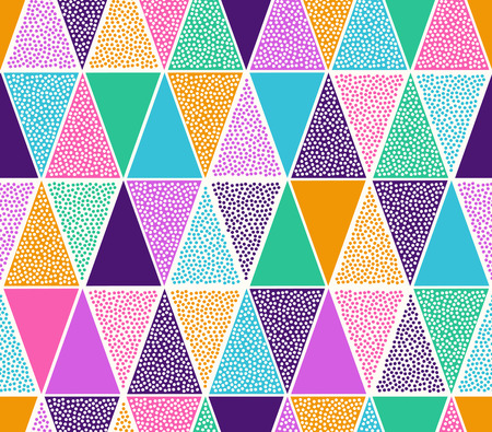 seamless abstract creative colorful triangle dots pattern on white background.