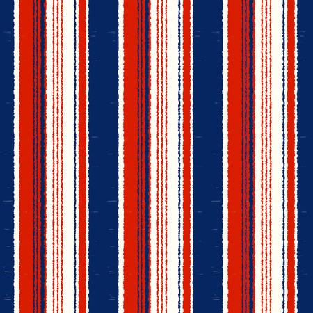 Marineblau, Rot, Weiß gestreiftes nahtloses Muster - vertikale Streifen wiederholter Stoffhintergrund
