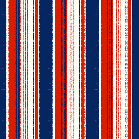 Navy Blue, Red, White Striped Seamless Pattern - Vertical stripes repeated fabric background