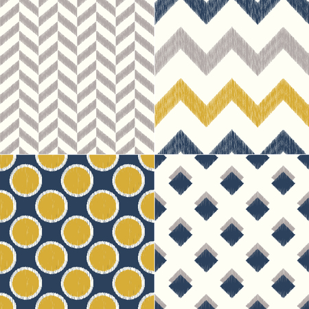seamless navy and yellow geometric textile background pattern Ilustração
