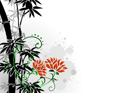 Abstract floral background with oriental bamboo and floral illustration