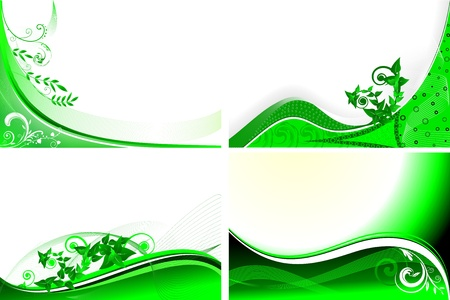 set of four green floral background