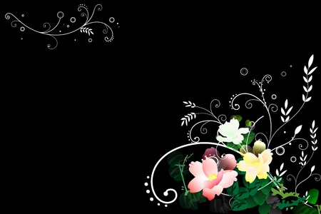 Abstract  flower illustration in black  background Stock Illustration - 10601657