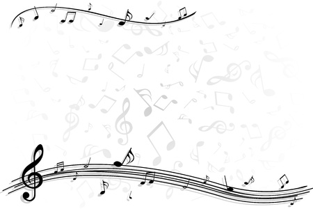 Illustration of black and gray music note for background