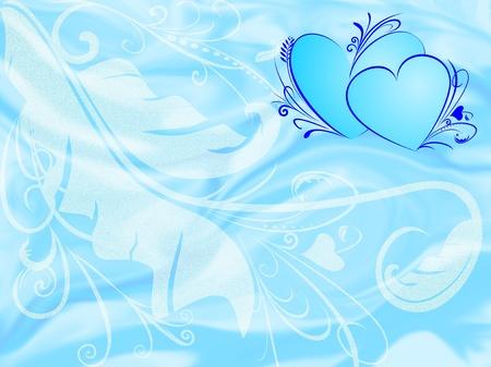 Floral background with blue love illustration