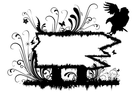 Illustration of frame with Abstract Floral motif and eagle silhouette Stock Photo