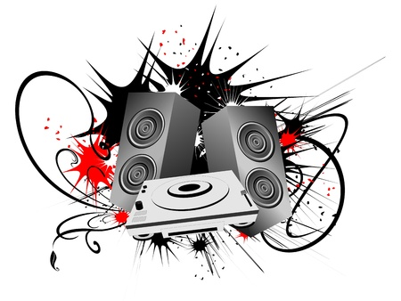Urban art composition with speaker and grunge background Stock Photo
