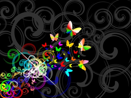Colorfull retro background, transformation of butterfly from abstract shape. Standard-Bild