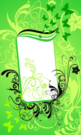 Abstract Frame with floral background and butterfly silhouette
