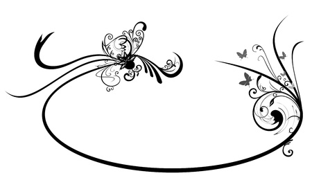 Oval frame with Abstract Floral motif Illustration