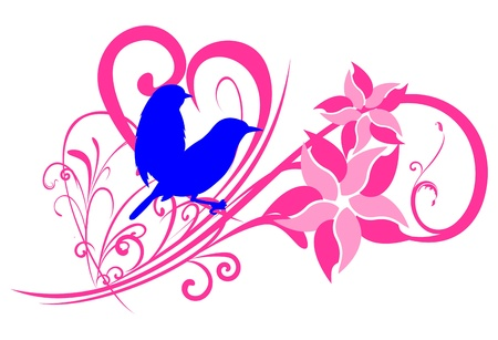 Couple of sparrow silhouette with floral motif Illustration
