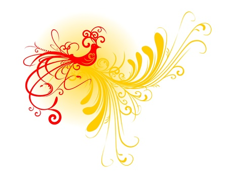 Abstract bird silhouette with floral motif