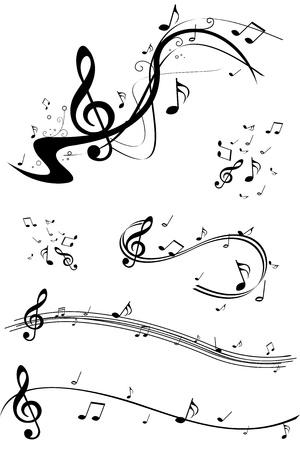 Set of music note illustrations Illustration