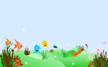 Some cheerful marine animals in the blue sea