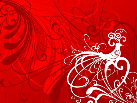 Red floral background Stock Photo