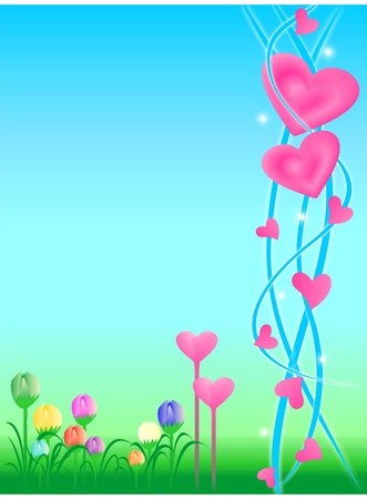 Background with floral motif and cute love