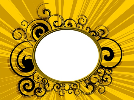 Gold Retro frame with Abstract background Stock Photo
