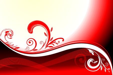 Red Abstract Floral motif background