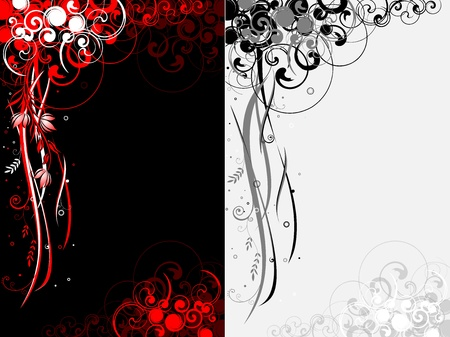 two abstract Floral motif background Vector