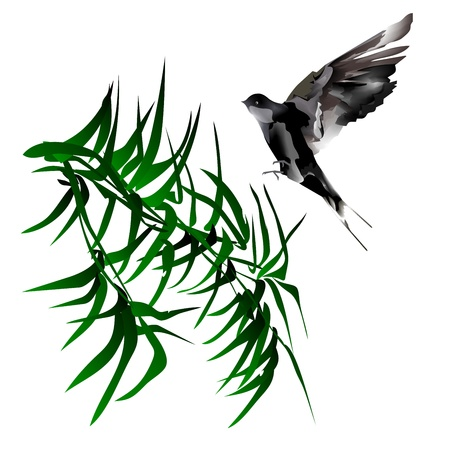 Abstract green bamboo with bird illustration