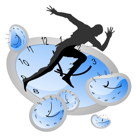 chase: silhouette man running above time Illustration