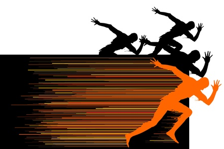 Some man silhouette in run competition Stock Vector - 10889216