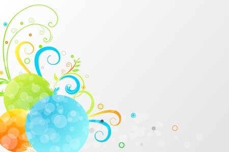 Floral background with colorful motif and bubbles