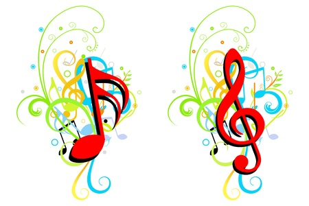 Two Music theme corner or background