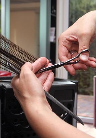 cutting long hair photo