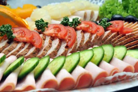 platters: cold cuts Stock Photo