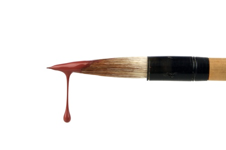 drop of blood: brush with red paint drop Stock Photo